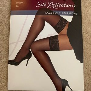NEW Sheer Black Lace Top Thigh High Stockings
